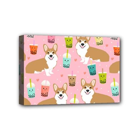 Corgi Bubble Tea Boba Tea Fabric Cute Mini Canvas 6  X 4