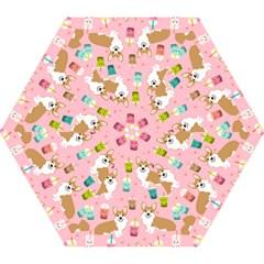Corgi Bubble Tea Boba Tea Fabric Cute Mini Folding Umbrellas