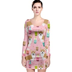Corgi Bubble Tea Boba Tea Fabric Cute Long Sleeve Bodycon Dress