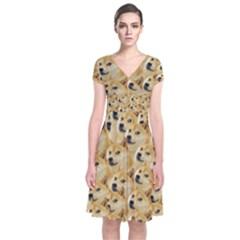 Corgi Dog Short Sleeve Front Wrap Dress
