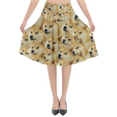 Corgi Dog Flared Midi Skirt
