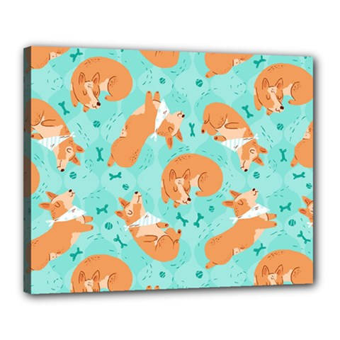 Corgi Dog Pattern Canvas 20  X 16