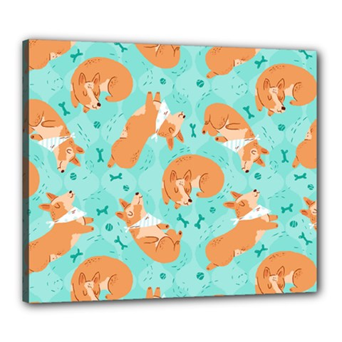 Corgi Dog Pattern Canvas 24  X 20