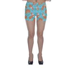 Corgi Dog Pattern Skinny Shorts