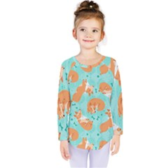Corgi Dog Pattern Kids  Long Sleeve Tee