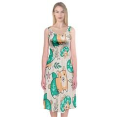 Corgi Beach Party Midi Sleeveless Dress