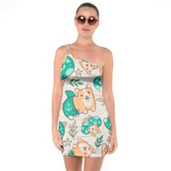 Corgi Beach Party One Soulder Bodycon Dress