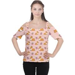 Corgi Peach Sploot Fabric Cutout Shoulder Tee