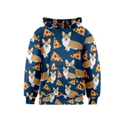 Corgi Pizza Navy Blue Kids Cute Funny Kids  Pullover Hoodie