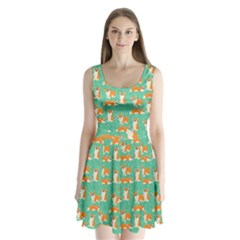 Corgi Dog Wrap Split Back Mini Dress