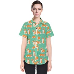 Corgi Dog Wrap Women s Short Sleeve Shirt