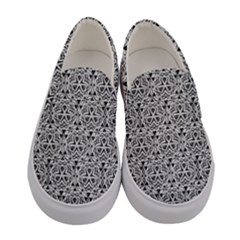 Hand Drawing Tribal Black White Women s Canvas Slip Ons