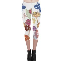 Flowers Butterflies Dragonflies Capri Leggings