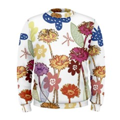 Flowers Butterflies Dragonflies Men s Sweatshirt