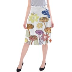 Flowers Butterflies Dragonflies Midi Beach Skirt