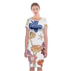 Flowers Butterflies Dragonflies Classic Short Sleeve Midi Dress
