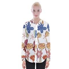 Flowers Butterflies Dragonflies Womens Long Sleeve Shirt