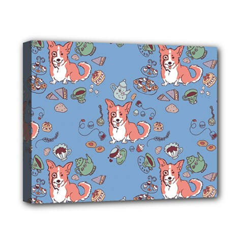Dog Corgi Pattern Canvas 10  X 8