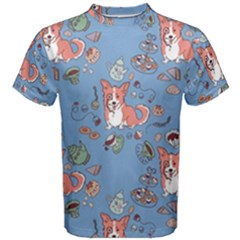 Dog Corgi Pattern Men s Cotton Tee