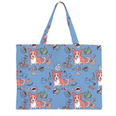 Dog Corgi Pattern Zipper Large Tote Bag