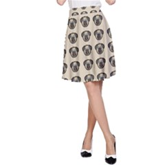 Puppy Dog Pug Pup Graphic A Line Skirt