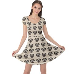 Puppy Dog Pug Pup Graphic Cap Sleeve Dress