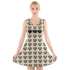 Puppy Dog Pug Pup Graphic V Neck Sleeveless Skater Dress