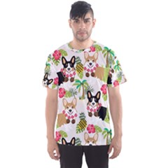 Hula Corgis Fabric Men s Sports Mesh Tee