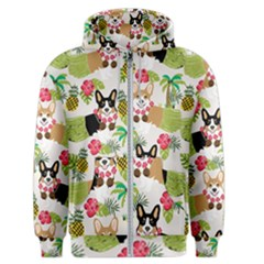 Hula Corgis Fabric Men s Zipper Hoodie