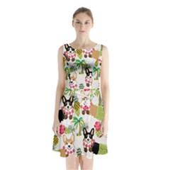 Hula Corgis Fabric Sleeveless Waist Tie Chiffon Dress
