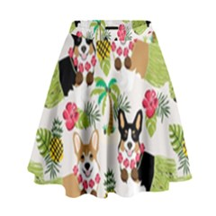 Hula Corgis Fabric High Waist Skirt