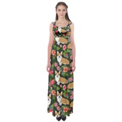 Welsh Corgi Hawaiian Pattern Florals Tropical Summer Dog Empire Waist Maxi Dress