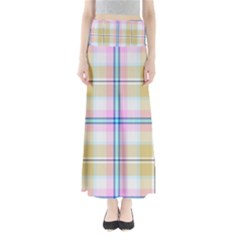 Pink And Yellow Plaid Full Length Maxi Skirt
