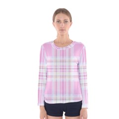 Pink Pastel Plaid Women s Long Sleeve Tee