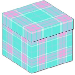 Blue And Pink Pastel Plaid Storage Stool 12
