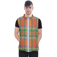 Orange And Green Plaid Men s Puffer Vest