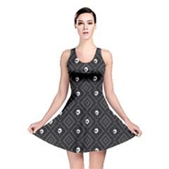 Funny Little Skull Pattern, B&w Reversible Skater Dress