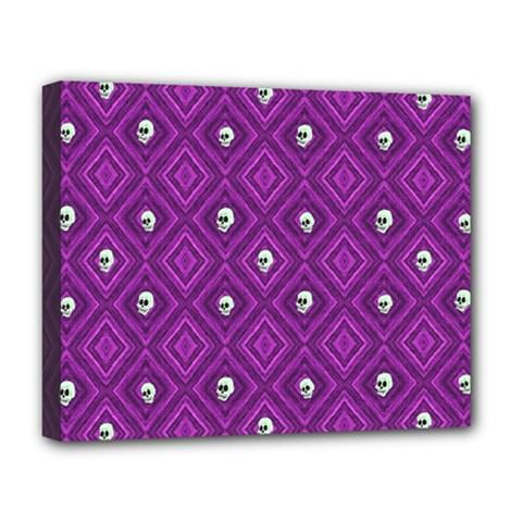 Funny Little Skull Pattern, Purple Deluxe Canvas 20  X 16