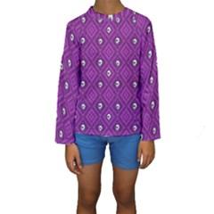 Funny Little Skull Pattern, Purple Kids  Long Sleeve Swimwear