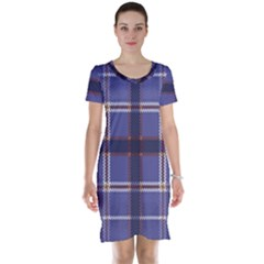 Purple Heather Plaid Short Sleeve Nightdress