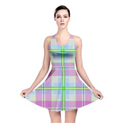 Pink And Blue Plaid Reversible Skater Dress