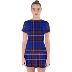 Bright Blue Plaid Drop Hem Mini Chiffon Dress