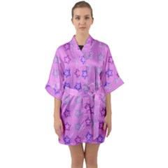 Spray Stars Pattern C Quarter Sleeve Kimono Robe