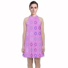 Spray Stars Pattern C Velvet Halter Neckline Dress