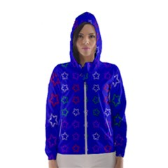 Spray Stars Pattern E Hooded Wind Breaker (women)