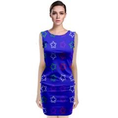 Spray Stars Pattern E Sleeveless Velvet Midi Dress