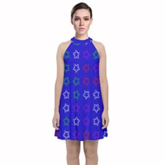 Spray Stars Pattern E Velvet Halter Neckline Dress