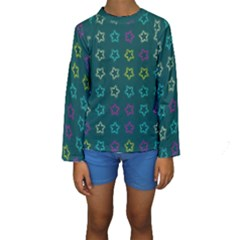 Spray Stars Pattern F Kids  Long Sleeve Swimwear