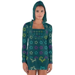 Spray Stars Pattern F Long Sleeve Hooded T Shirt