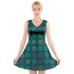 Spray Stars Pattern F V Neck Sleeveless Skater Dress